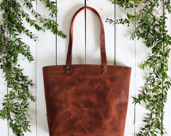 Tote bag Tote bag with pockets Medium leather tote bag - Tobacco distressed leather - Hand stitched shopper bag