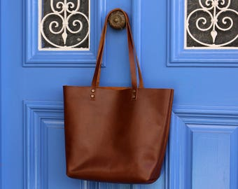 Tote bag Tote bag with pockets Medium leather tote bag - Tobacco leather Tote - Hand stitched shopper bag