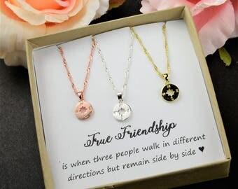 Inspirational Compass Necklace Best Friend Gift  Best Friend Necklace  Friendship Necklace  Sisters Necklace  Friendship jewelry gift BFF