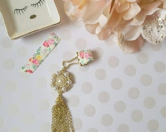 Rose Pearls; pen clips, pen loops