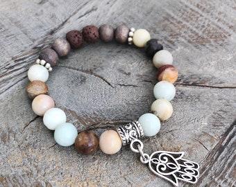 Amazonite Bracelet, Essential Oil Diffuser Bracelet, Protection Bracelet, Anxiety Bracelet, Minimalist Aromatherapy Bracelet, Hasma Hand