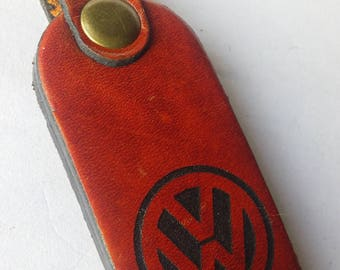 Volkswagen Genuine Leather Engraved Keychain Keyring / New Handmade
