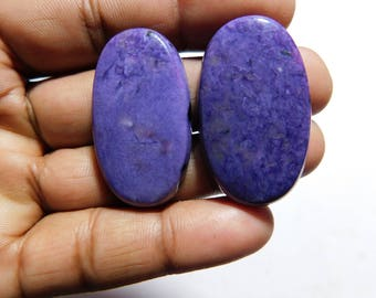 Beautiful Top Quality Natural Charolite Quartz Oval Shape Cabochon~Lot~86.00 Cts 2Pcs Free Shipping