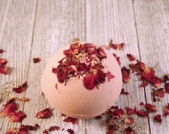 Desert Rose Bath Bomb, Mother's Day, Birthday Gift, Mom, Bridesmaid Gift, Spa Gift for Her, Spa, Rose Petals, Bath Fizzie, Fizzy