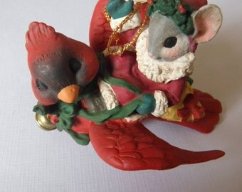 Midwest of Cannon Falls Santa Mouse Riding Cardinal Ornament Mousekin