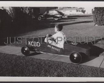 Boy in soapbox derby car Joe Bryant old vintage photo/snapshot/photograph-w21