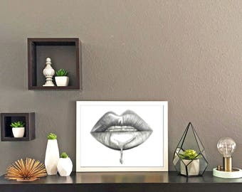 Lips in Pencil Print