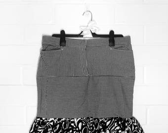 Sophisticated Upcycled Clothing Black and White Mixed Print Gingham Floral Skirt with Ruffle (003)
