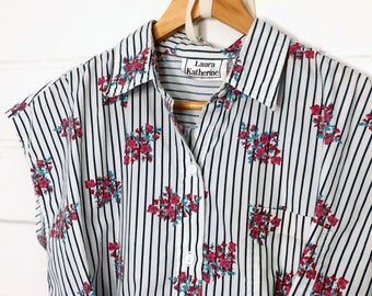Vintage Inspired Upcycled clothing Striped Floral Rose Sleeveless Button up Shirt (006)