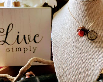 Be Kind Charm Marble Acorn Top Women's Necklace Mighty Girl Designs