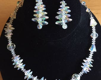 Vendome Aurora Borealis Crystal Necklace and Converted Pierced Earrings Set