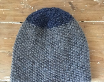 Hand knitted blue and grey beanie