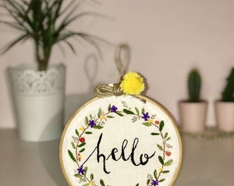 Embroidered hoop art - 'hello'