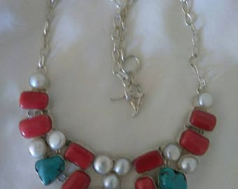 Silver Turquoise, Red Coral and Pearl Statment Necklace
