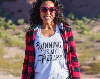 Running is my Therapy Triblend Racerback Tank - Women's - White