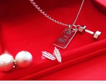 Jewelry Set Five Piece Necklace Earring Pendant Silver Color Sport A16
