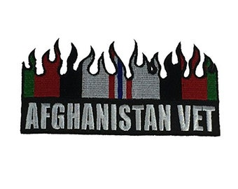 Afghanistan Vet Operation Enduring Freedom OEF Campaign Medal/Service Ribbon Flames Design Patch