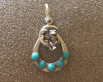 925 Vintage Antique Sterling Silver Frog On Moon Turquoise Pendant / Charm