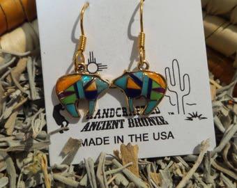 Bronze Southwest Native American Style Multi Stone Bear Earrings