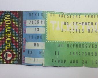 Vintage J.GILES BAND Concert Ticket Stub