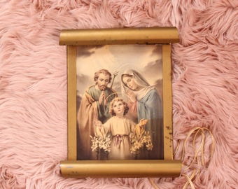 vintage Jesus Mary & Joseph wall lamp light, gold tone scroll frame, vintage religious wall art decor