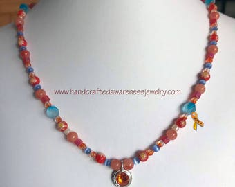 "21"" Pewter Tangerine Swarovski Pendant Necklace, Avertine Stone, Orange Awareness, COPD, CRPS, CRPS, Leukemia, Multiple Sclerosis"