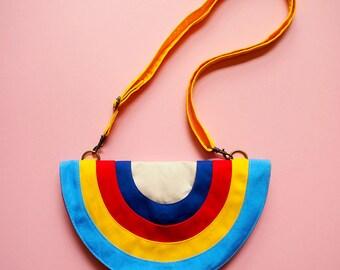 Rainbow Purse, Rainbow Bag, Rainbow Clutch, Rainbow Wallet, Rainbow Handbag, Lunch Purse, Club Purse, Rainbow Gifts, Kitsch Retro Gift