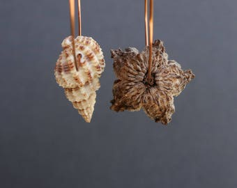 big boho hammered copper hoops with dried pod flower and exotic sea shell - asymmetrical mismatched earrings - natural ethnic jewelry