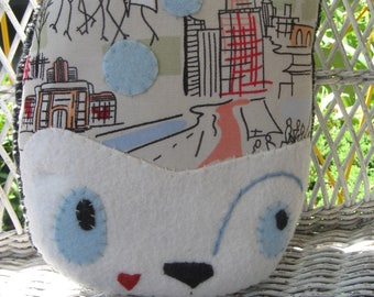 Ogden in the City Handmade handsewn plush Art DOLL
