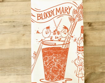 Bloody Mary Tea Towel - Brunch theme - Kitchen Towel - Dish Towel -  Funny Bloody Mary Kitchen Decor - Boozy Gift - Funny White Elephant