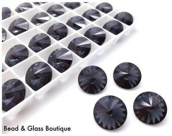 Swarovski Crystal Rivoli, #1122, 14mm, 4 pieces, Graphite (foiled)