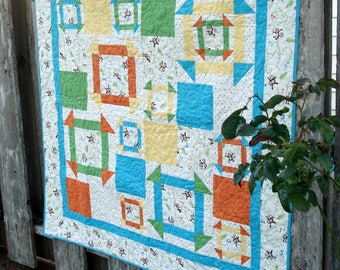 Modern Baby Quilt - Primary colors - Churn Dash - Monkey Wrench - baby blanket - Patchwork Nursery Decor -  Boy or girl - personalized