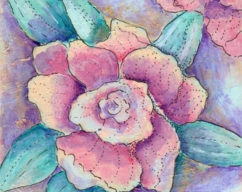 """Pink Magnolia floral Southern art painting PRINT 8""""x8"""" mixed media"""