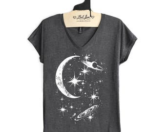 Small - Charcoal V-neck Tee with Crescent Moon Galaxy Screen Print