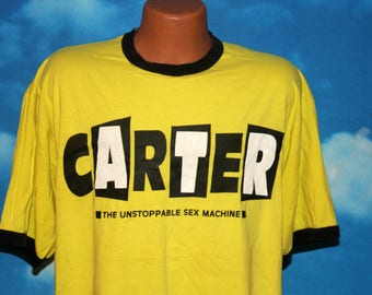 Carter U.S.M. Worry Bomb European Tour Yellow Ringer Tshirt Vintage 1995
