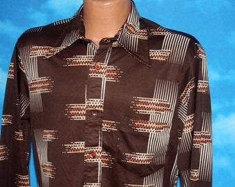 Squire of California Brown Geometric Stretchy Disco Polyester Shirt Large Vintage 1970s
