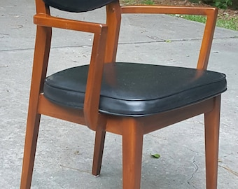 Mid Century Black and Wood Armchair Danish Modern Style SHIPPING INCLUDED