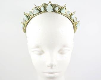 Illuminati Green Quartz Crystal Crown - Queen of the Ruins Series - by Loschy Designs