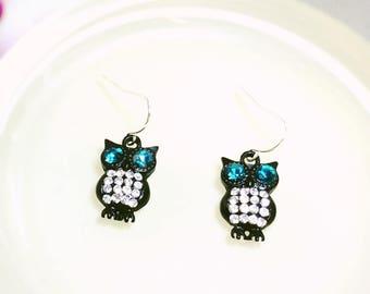Black Owl Earrings - owl earrings, owl dangle earrings, black owl, rhinestone, black owl earring, friend birthday, birthday gift, owl lover