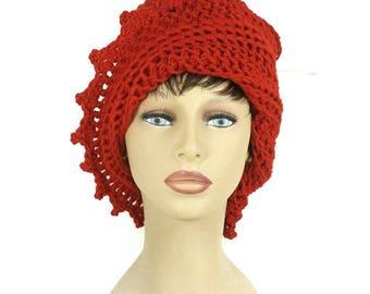 Womens Crochet Hat,  Womens Hat Trendy,  Crochet Beanie Hat,  Red Hat,  Lauren Beanie Hat Women