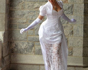 Custom Made Victorian Corset Bustle Wedding Gown