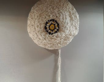 White Crocheted Hair Accessory Bun Cover with Beaded Medallion