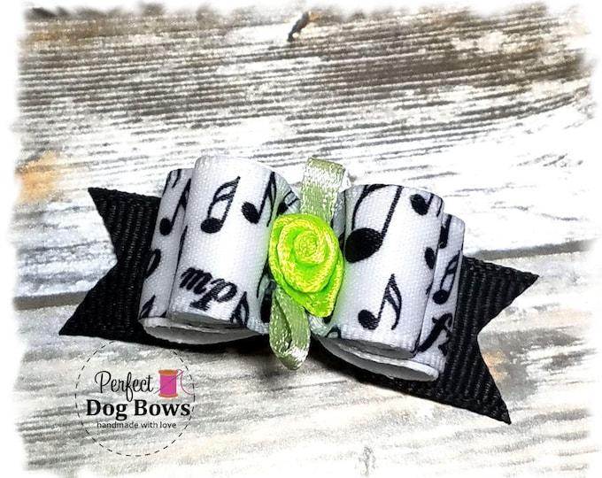 Dog Bow, Music Notes, Black Pet Bow, Small Dog Bow, Sheet Music, Dog Hair Bow