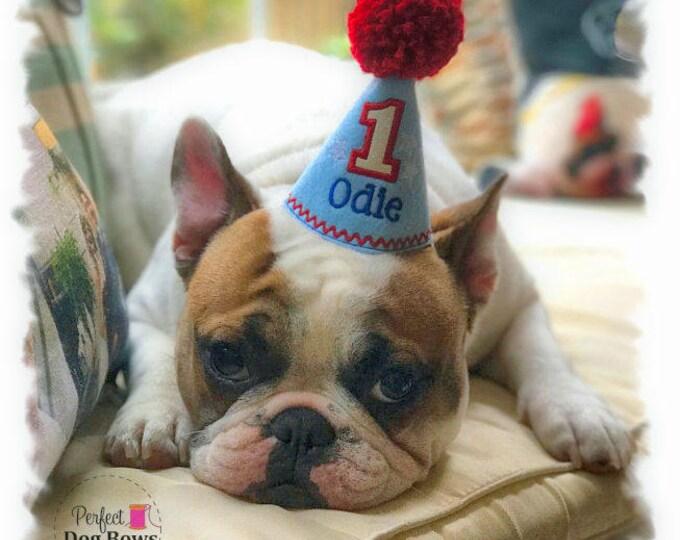 Dog Birthday Hat, Dog Party Hat, Dogs First Birthday, Cake Smash, Boy Dog Birthday, Personalized Birthday Hat, 4th of July Hat, Gotcha Day