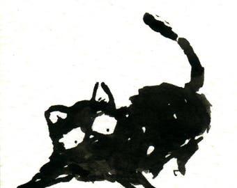 Original Black Cat Gouache Painting ACEO number 152
