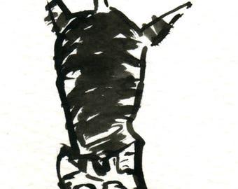 Original Black Cat Gouache Painting ACEO number 153