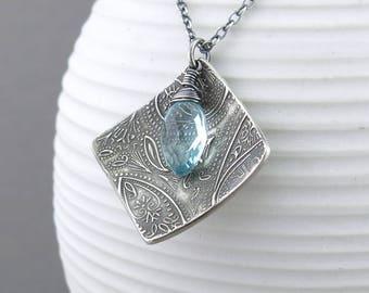 Light Blue Necklace Unique Silver Necklace Blue Pendant Necklace Gift Idea for Girlfriend Gift Boho Necklace Bohemian Jewelry  - Contrast