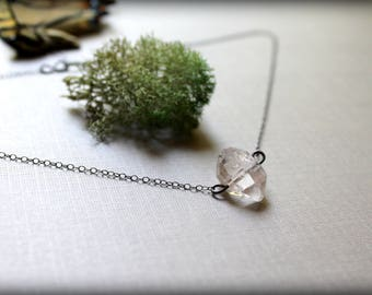 Raw Quartz Necklace, Double Terminated Crystal Necklace, Herkimer Diamond Necklace