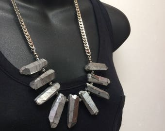 Silver Crystal Point Bib Necklace - Titanium Silver Quartz Points on Curb Chain - Statement Necklace - Christmas Gifts - Stocking Stuffer