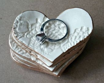 FIVE Ceramic OFF WHITE Lace Ring Dishes Bridal Shower Baby shower Wedding Favors  lace Itty Bitty  heart bowls